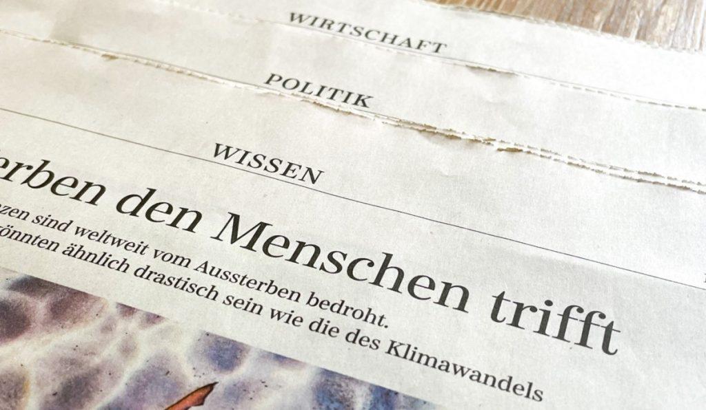 Ressorts in der Süddeutschen Zeitung. Foto: Jonas Mayer